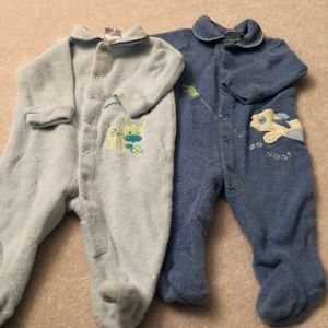 Two pair footie pajamas Carters 3-6 months